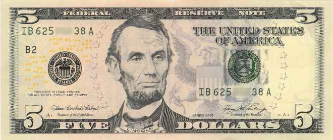 abraham lincoln american dollar banknote cash